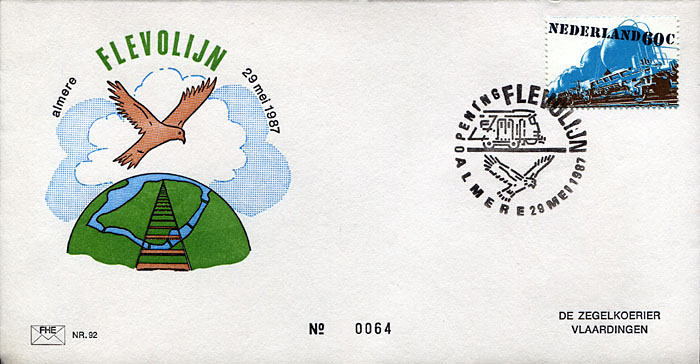 FDC: Opening of the so-called Flevolijn from Amsterdam to Almere on 29th May, 1987