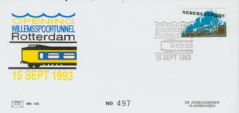 FDC: Opening of Willemspoor tunnel, 1993