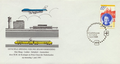 FDC: Official Opening of the line Den Haag - Leiden - Schiphol - Amsterdam, 1 June 1981