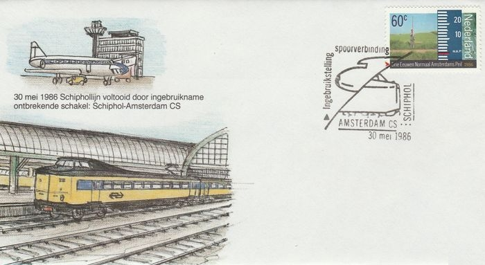 FDC: Schiphol - Amsterdam CS, 30 May 1986