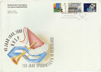 FDC: 150 Years Dutch Railways and 40 years Railway Workers Union
