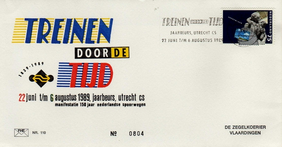 FDC: Trains through Time, event on the occasion of 150 Years Dutch Railways, 22 June till 6 August, 1989