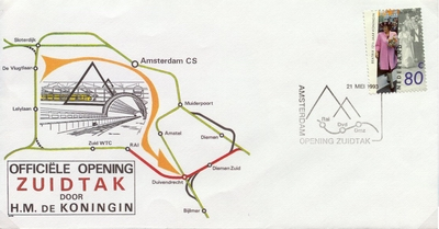 FDC: Opening 'Zuidtak' Southern branchline round Amsterdam, 21 May 1993